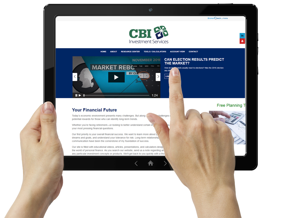 Photo of CBI Financial Services Homepage on Tablet